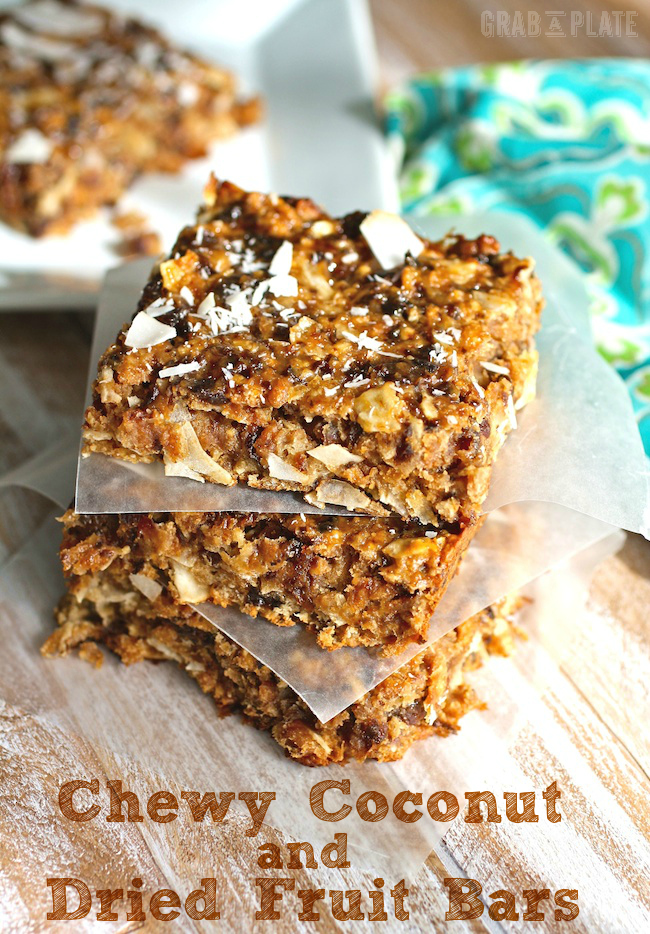 Chewy Coconut and Dried Fruit Bars are a healthy snack