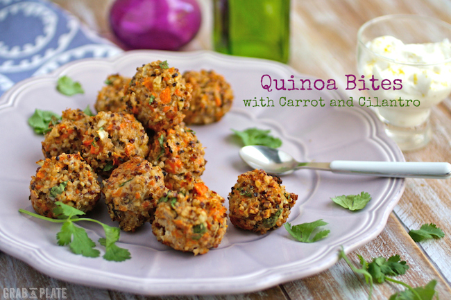 A gluten-free, delicious snack: Quinoa Bites with Carrot and Cilantro