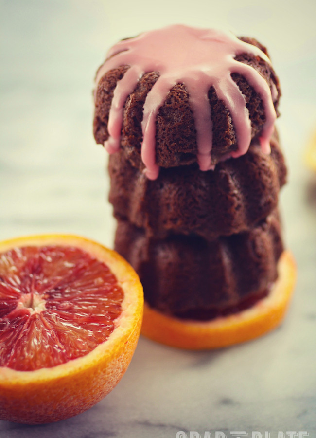 A stack of Mini Blood Orange Scented Chocolate-Ricotta Cakes
