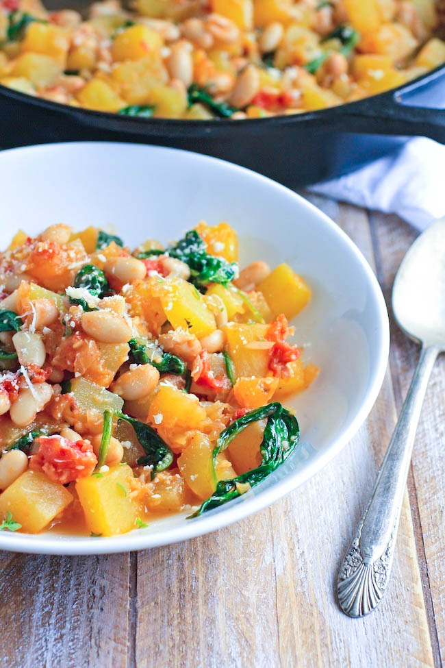 Winter Squash, White Bean, and SpinachSauté is a delicious dish make with simple ingredients. You'll love this winter squash dish, perfect for a Meatless Monday.