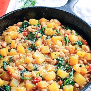 Winter Squash, White Bean & Spinach Sauté is delicious! You'll love the simple ingredients and big flavors in this winter squash dish.