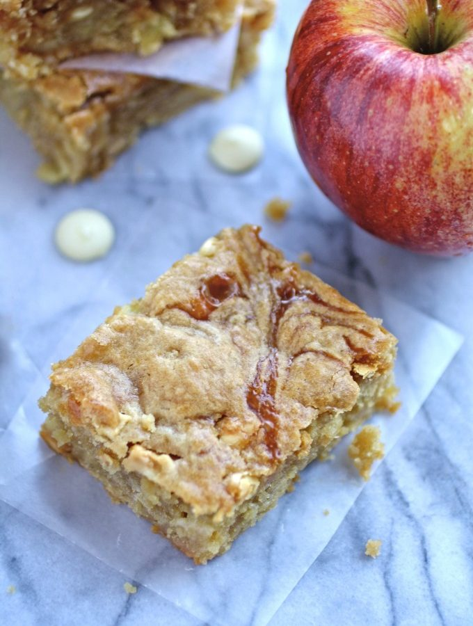 Caramel Apple and White Chocolate Chip Blondies