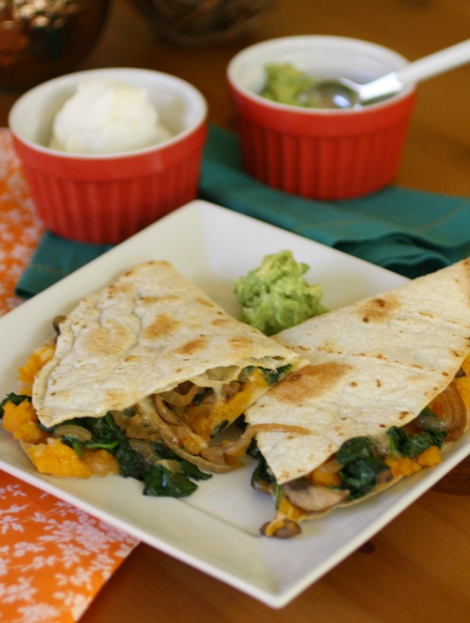 Butternut Squash, Spinach and Mushroom Quesadillas