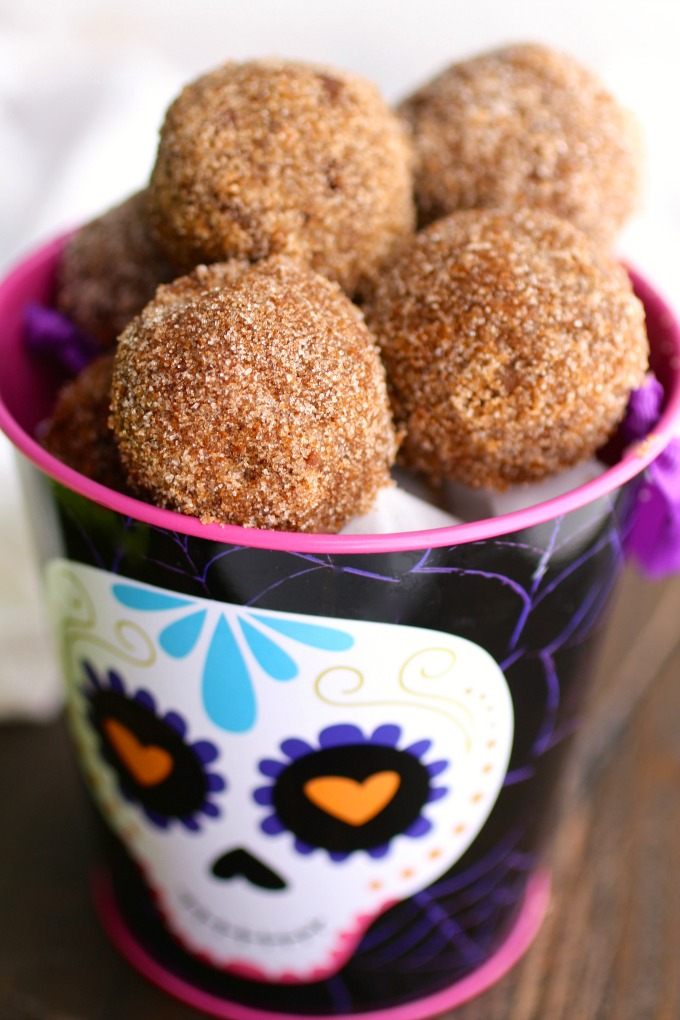 You'll want a whole basket of these tasty Cinnamon-Sugar Coated Chocolate Donut Holes!