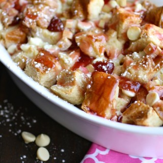 A bowl of Cherry-Rhubarb and White Chocolate Bread Pudding is a welcome end to any meal!