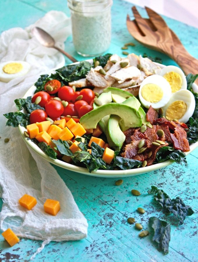 Kale Cobb Salad with Buttermilk Ranch Dressing is a big salad you'll love -- it's big on flavor!