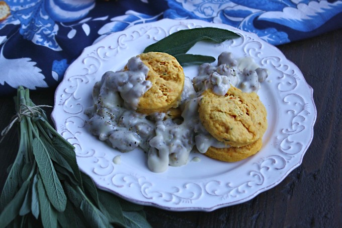 Colors and flavors combine for a great dish: Sausage Gravy and Sweet Potato-Sage Biscuits
