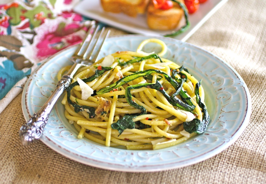 Bucatini with Wilted Dandelion Greens and Anchovy Sauce is a dish to write home about! The flavors are fab in this unique pasta dish!