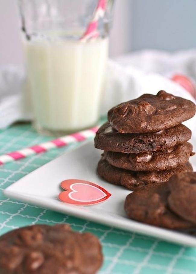 A plate of Dark Chocolate Brownie Drop Cookies