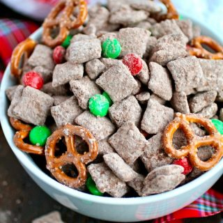 What a fun treat for the holidays: Chocolate-Cinnamon Reindeer Chow is perfect for parties and get togethers!