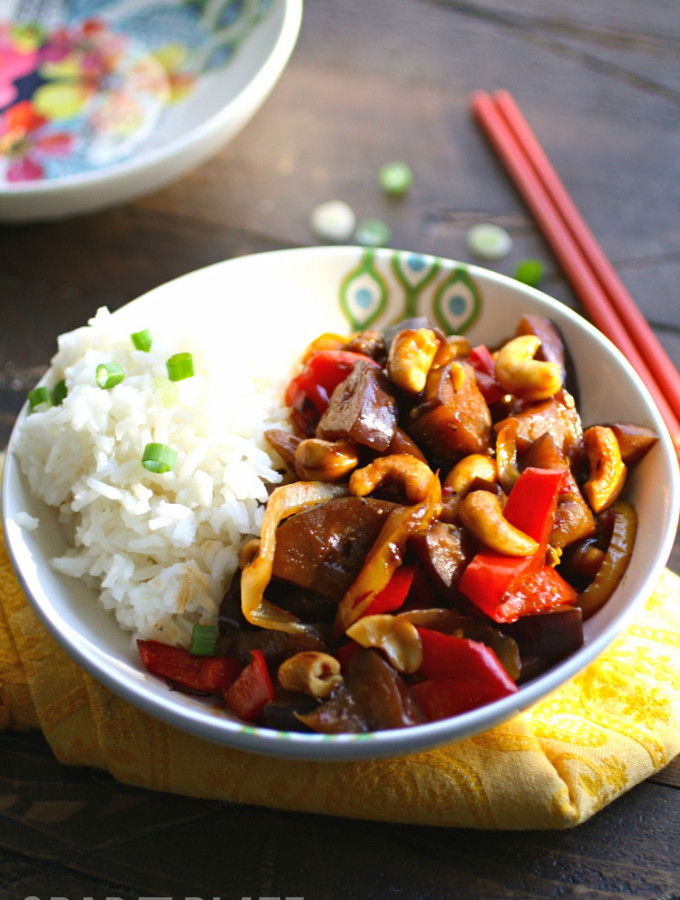 Spicy Eggplant Stir-Fry with Cashews