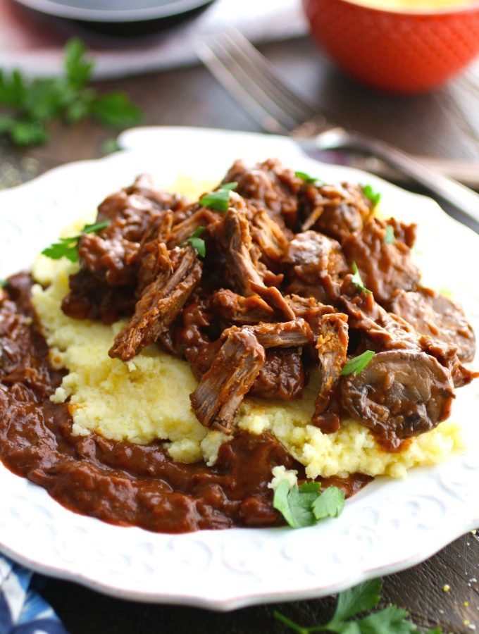 Red Wine Braised Short Ribs with Polenta