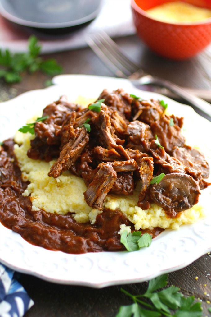 Red Wine Braised Short Ribs with Polenta is a delicious, warming main-dish meal!