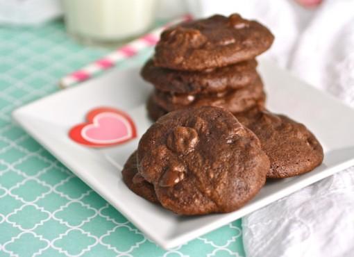 A pile of Dark Chocolate Brownie Drop Cookies