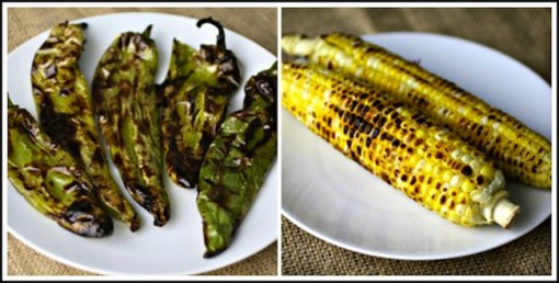 Roasted chiles and corn