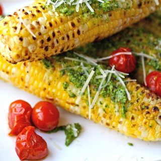 Grilled Corn on the Cob with Kale Pesto makes a fabulous summer side!