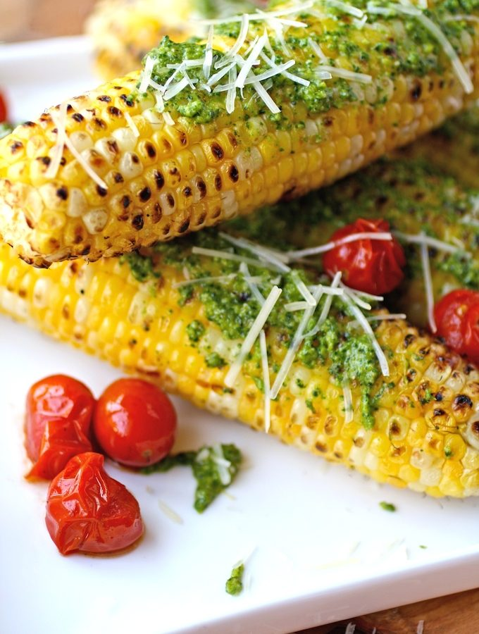Grilled Corn on the Cob with Kale Pesto