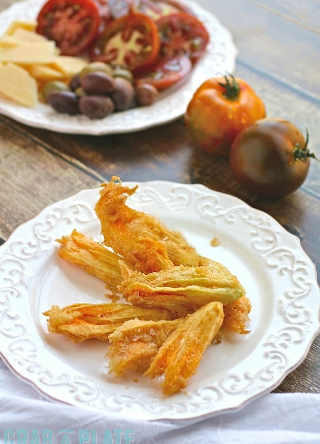 Enjoy a plateful of Fried Zucchini Blossoms this summer for a delightful appetizer | azgrabaplate.com