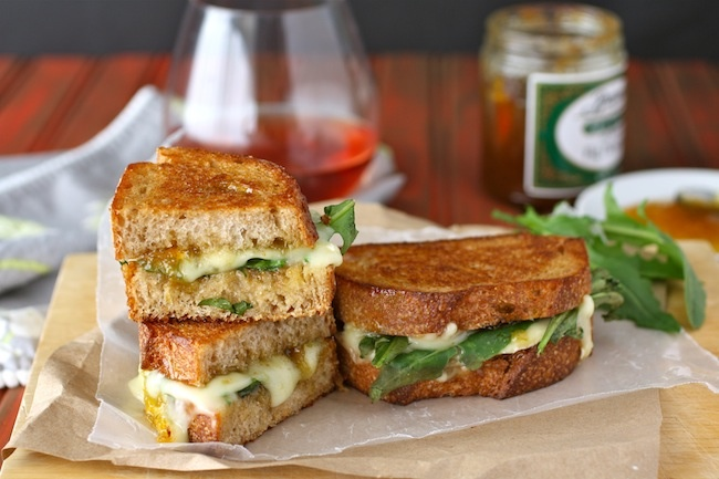 Yummy grilled brie, fig jam, and dandelion greens sandwiches