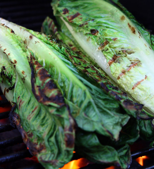 Retouched grilling romaine