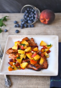 Molasses-glazed salmon with swee-and-spicy peach salsa