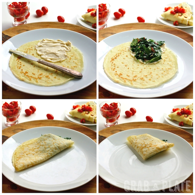 How to easily assemble Spinach, Bacon, and Brie Crêpes