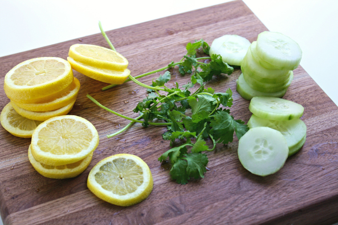 For Lemon, Cucumber & Cilantro Infused Water, you only need a few things to stay hydrated!