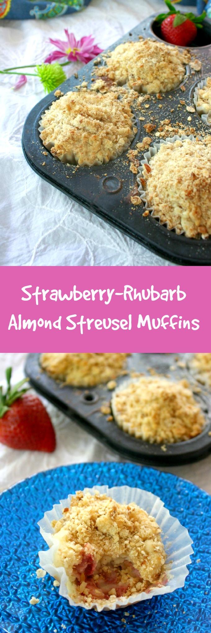 Strawberry-Rhubarb Almond Streusel Muffins