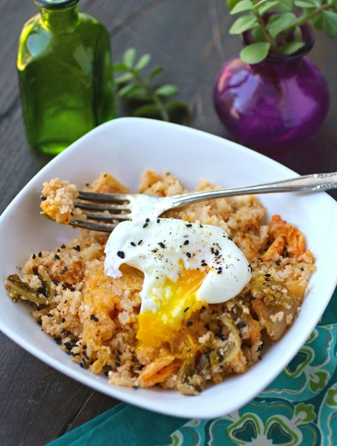 "Kimchi and Cauliflower Fried ""Rice"" with Poached Eggs"