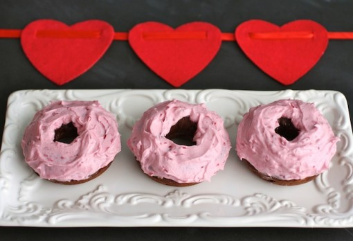 Yummy chocolate beet donuts with peppermint cream cheese frosting