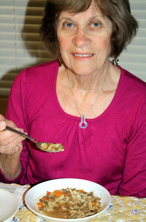 Retouched mom and soup