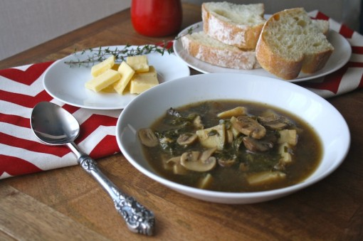 Mushroom, Potato and Kale Soup