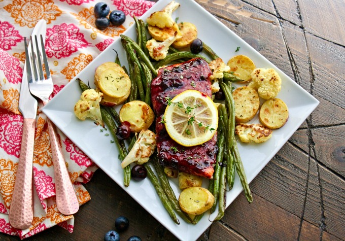 Serve Sheet Pan Blueberry-Balsamic Glazed Salmon for a special meal, or for when you need to get a meal on the table without much fuss!