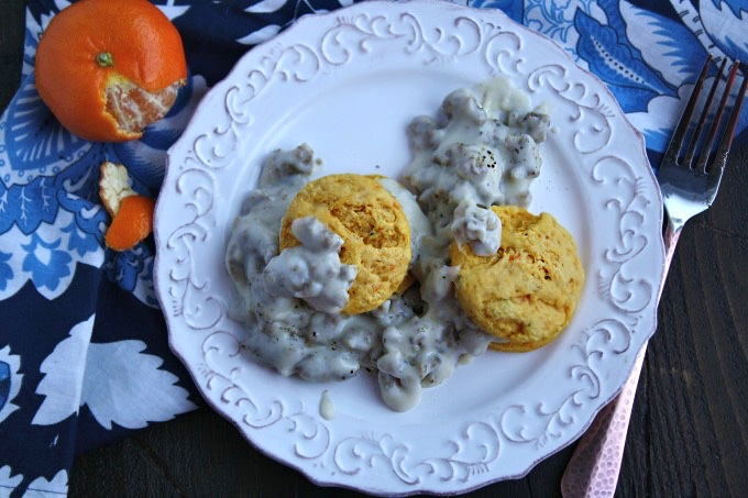A savory and mouth-watering breakfast (or breakfast-for-dinner): Sausage Gravy and Sweet Potato-Sage Biscuits!