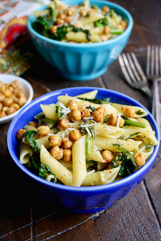 Pasta with Rapini and Crispy Chickpeas is a simple and delicious dish that's perfect for a weeknight meal!