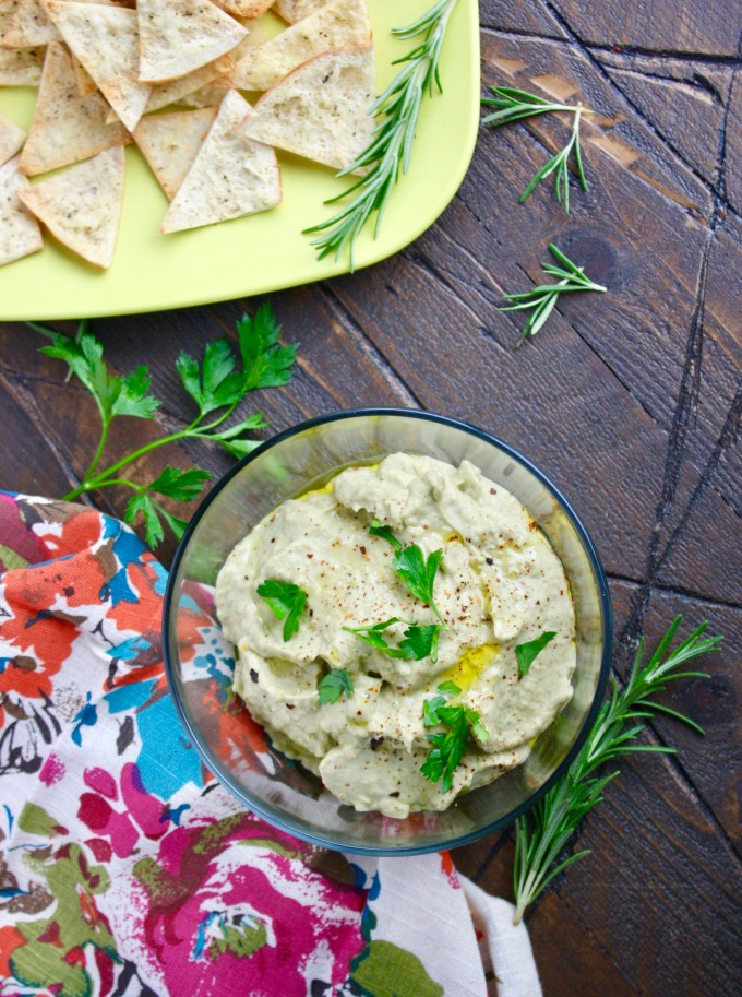 Go ahead and dip! You'll love Roasted Eggplant Dip with Easy Garlic Pita Chips for any event, or none at all!