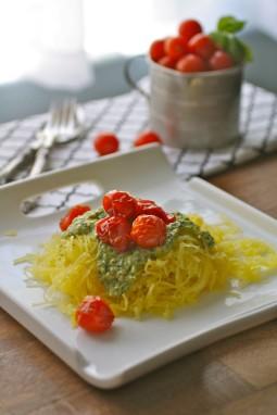 "Spaghetti Squash ""Pasta"" with Pesto and Roasted Tomatoes"
