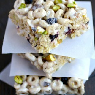 Blueberry-Pistachio Marshmallow Cereal Bars make a great after-school treat!