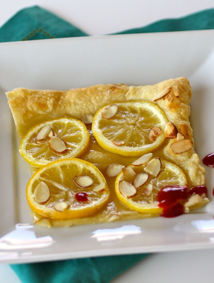 Puff Pastry Lemon Tart with Raspberry-Chambord Sauce
