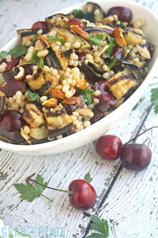 Fill up on Grilled Eggplant, Cherries, and Couscous Salad -- it's the perfect summer dish that's great on a Meatless Monday, too