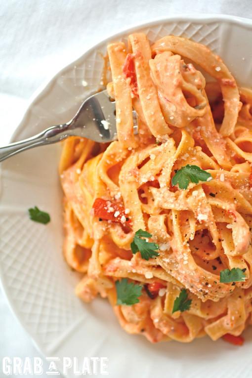 Twirl a fork of Roasted Red Pepper Fettuccine Alfredo