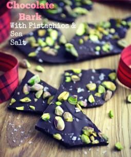 A holiday treat: Chocolate Bark with Pistachios and Sea Salt