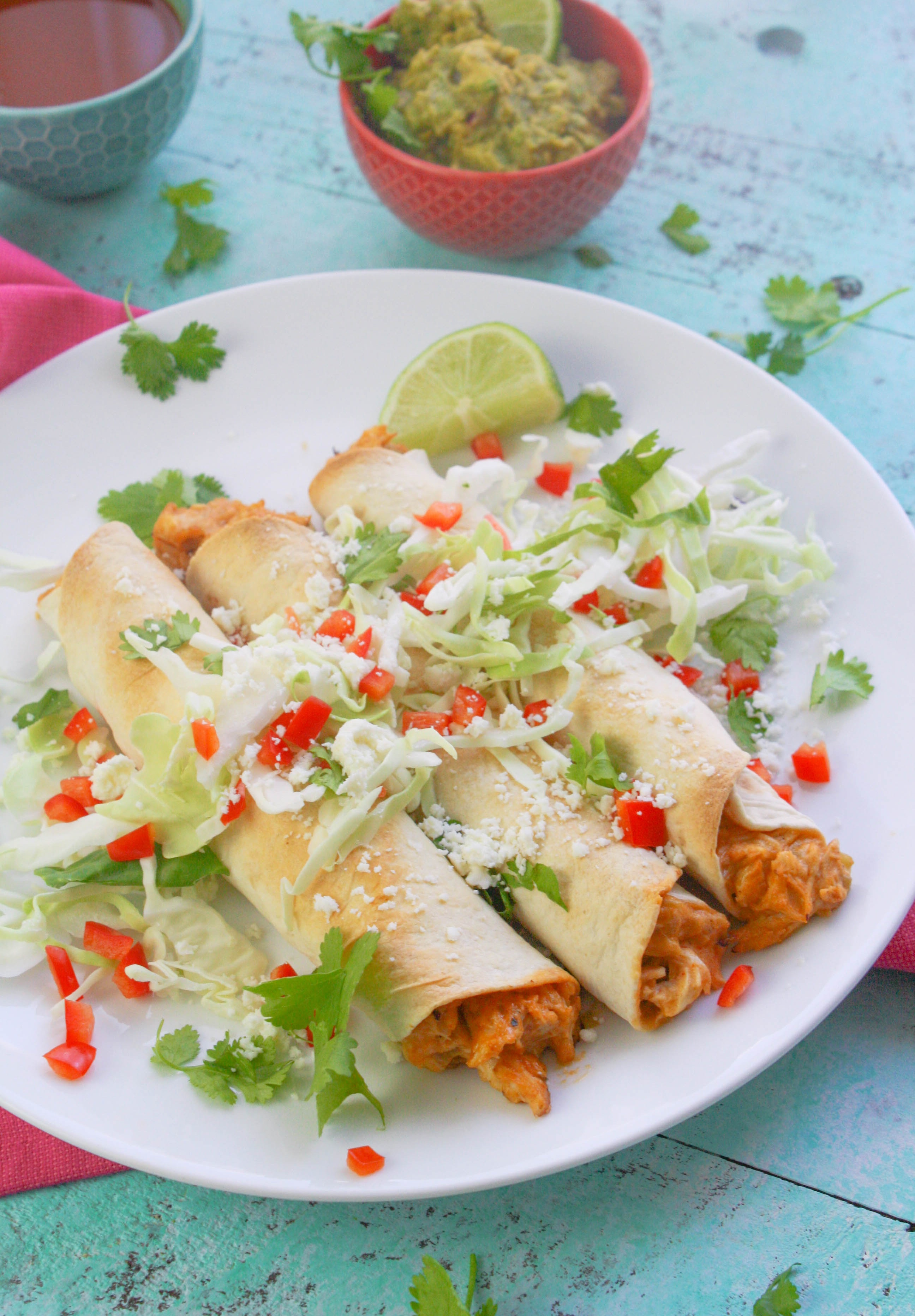 Baked Chicken and Green Chile Taquitos are perfect as a snack or as part of a light meal. Baked Chicken and Green Chile Taquitos are so easy to make and fun to serve!