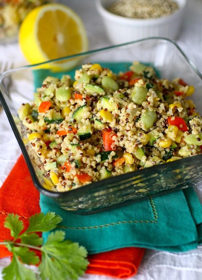 Quinoa Succotash with Spiced Tahini Dressing (vegan and gluten-free)