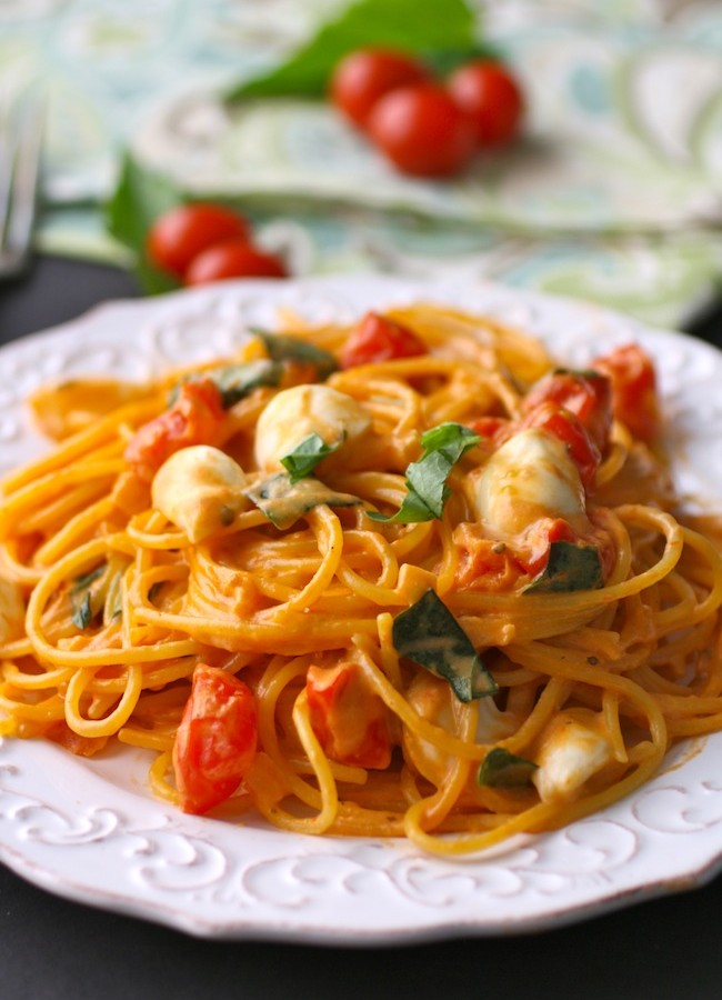 Think spring flavors with creamy Caprese spaghetti