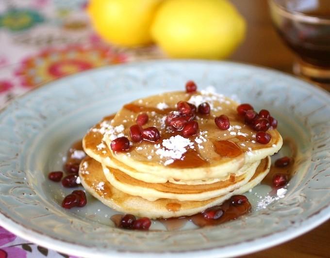 Lemon Ricotta Pancakes with Pomegranate Syrup