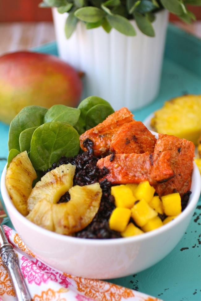 Pineapple-Sriracha Glazed Salmon Rice Bowls