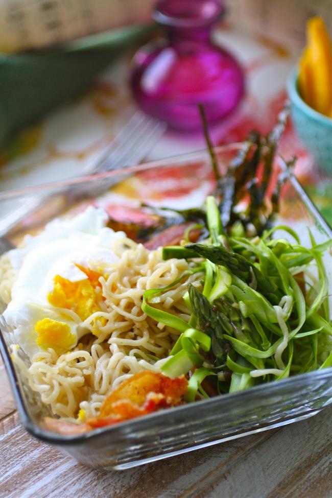 Bacon, Egg and Asparagus Ramen