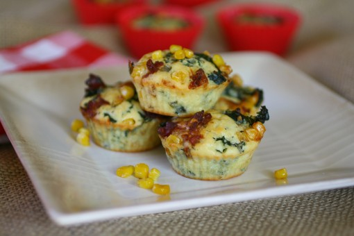 Kale, corn and pancetta muffins