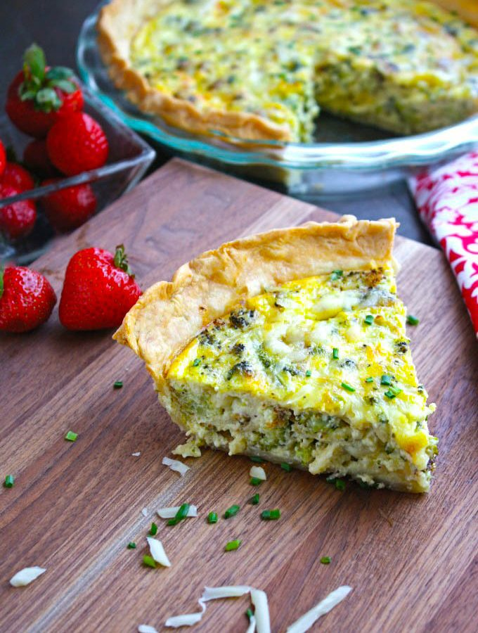 Roasted Broccoli and Swiss Quiche